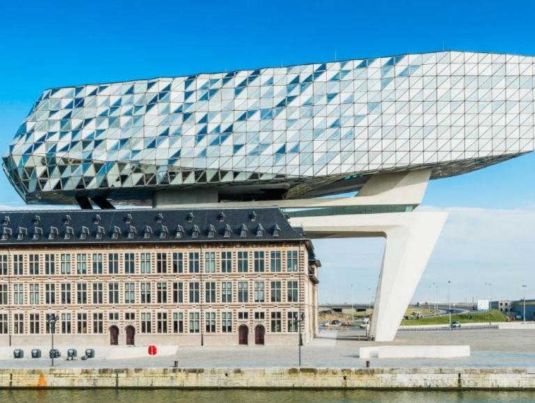 Antwerp Port House facade Front view with Saint-Gobain glass