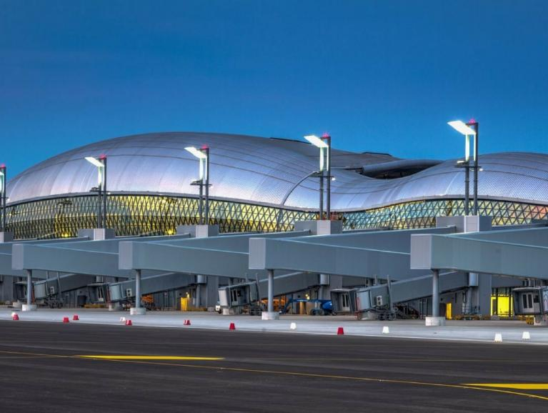 Zagreb International Airport facade Front main view	with Saint-Gobain glass